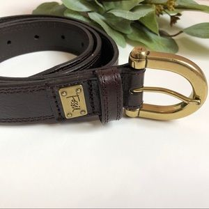 🔆 Fossil - Brown Leather Belt with Gold Buckle